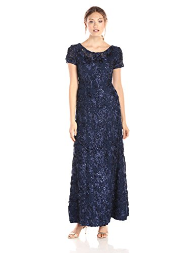 Alex Evenings Women's A-Line Rosette Sleeve Gown with Sequin Detail, Navy, 16