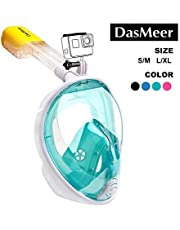 Full Face Snorkel Mask,DasMeer Seaview 180°GoPro Compatible Mask with Adjustable Head Straps & Easy Breathing & Anti-Fog Anti-Leak Panoramic View Snorkeling Mask for Adults or Kids