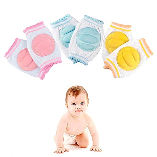 Baby Knee Pads for Crawling Adjustable Breathable Safety Protector Elastic Anti-slip Walking Knee Pads for Babies Toddlers Infants Boys Girls Kids Unisex 3 Pairs by ReachTop