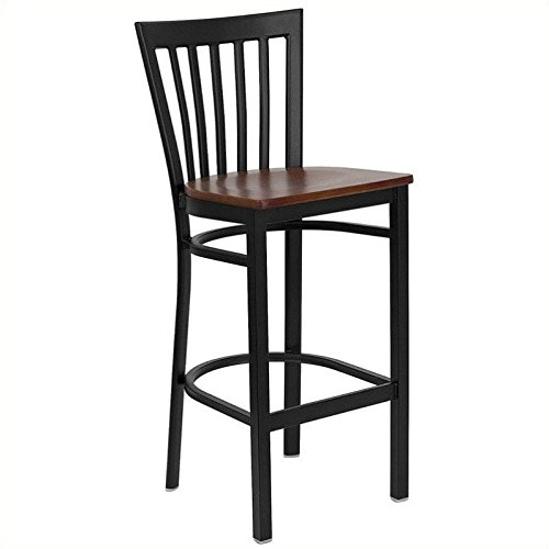 Flash Furniture HERCULES Series Black School House Back Metal Restaurant Barstool - Cherry Wood Seat