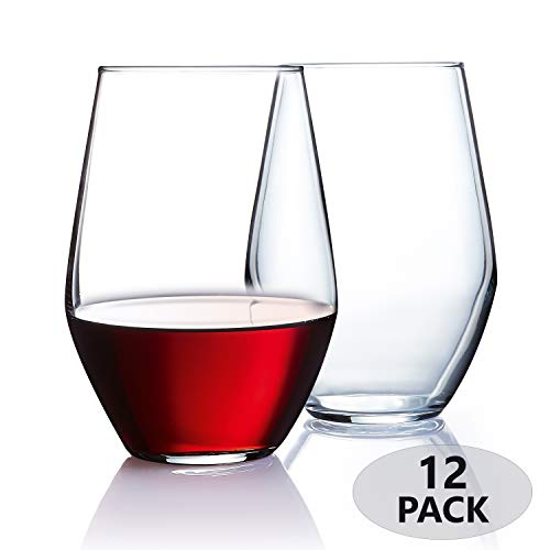 Stemless Wine Glasses [Set of 12] Elegant Wine Glass Great For White Or Red Wine, 19 oz, Clear Glass
