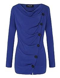 ACEVOG Women Ladies Shawl Collar Pullover Tunic Casual Sweatershirt