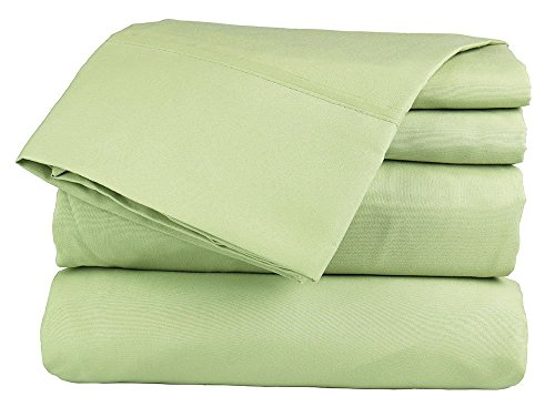 Sage Solid (48''X75'') Three Quarter Size Ultra Soft Natural 4 PCs Bed Sheet Set 16'' Deep Elastic All Round 100% Cotton 400-Thread-Count Extremely Stronger Durable By Aashi by aashirainwear