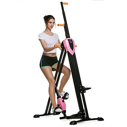 Rateim 2 In 1 Multi-Function Folding Vertical Climber Stepper, Leg Pedal Exerciser Fitness Exercise Equipment Peddler Machine Exercise Bike for Office Home (Vertical Climber Pink)