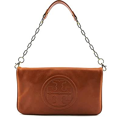 Tory burch bombe reva luggage brown leather clutch for Tory burch jewelry amazon