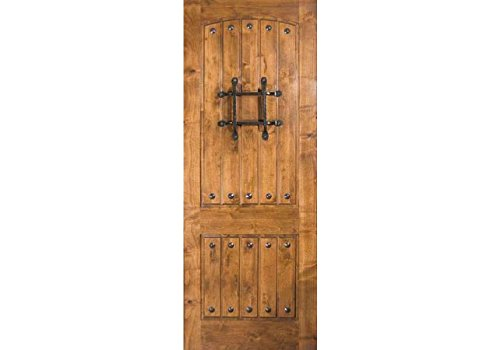 ETO Doors RMKA - Exterior Rustic Knotty Alder V-Grooved Arched 2 Panel Entry Door with Wrought Iron Bar, Available Pre Hung, Door/Slab Only, Unfinished, Size 32