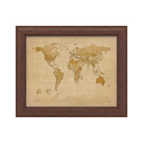 Trademark Fine Art Antique World Map by Michael Tompsett, Wood Frame 11x14, Multi-Color