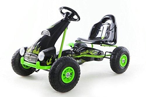 RideonToys4u Pedal Go Kart With Rubber Air Wheels & Gear Brake Lever Green by Rideontoys4u