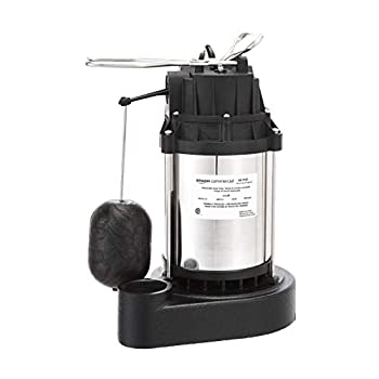 Image of Home Improvements AmazonCommercial 1/3 HP Submersible Sump Pump with Stainless Steel Motor Shell and Cast Iron Base, Mechanical Float Switch