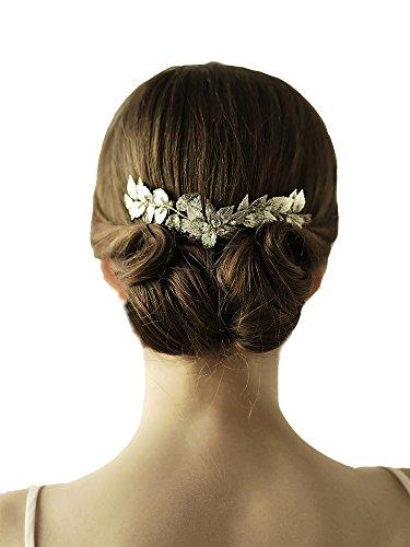LeafTiara Comb–Bohemian Bridal Wedding Crystal Crown Headband (Crystal Laurel Wreath)