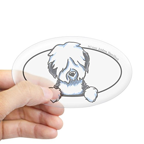 CafePress Old English Sheepdog Peeking Bumper Oval Bumper Sticker, Euro Oval Car Decal