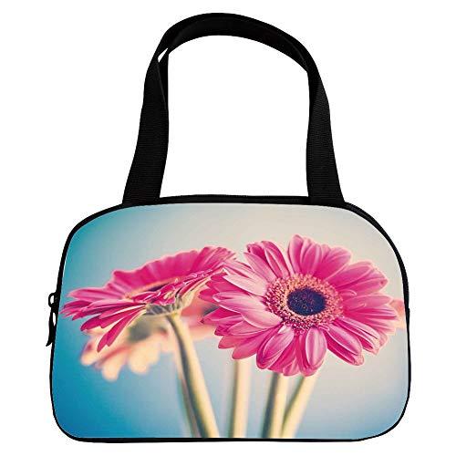 - Increase Capacity Small Handbag Pink,Floral,Vintage Gerbera Flower Petals in Hazy Picture Romantic Summer Theme Print,Light Blue Hot Pink,for Girls,3D Print Design.6.3