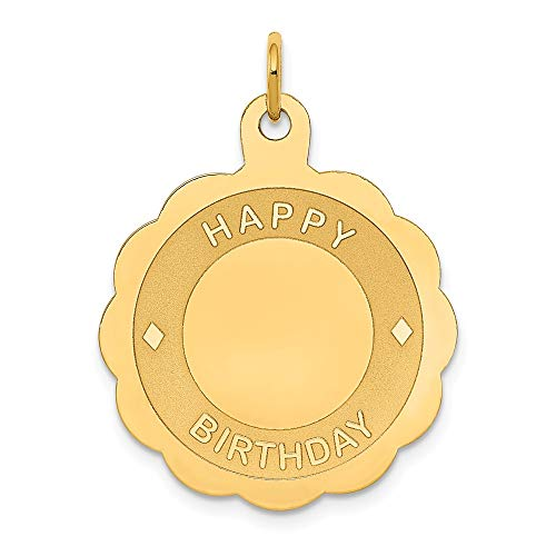 18th Scale Yellow - 14k Yellow Gold Happy Birthday Disc Pendant Charm Necklace Special Day Fine Jewelry Gifts For Women For Her