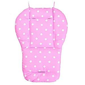 cojin de asiento de carrito de nino - TOOGOO(R) Funda de algodon almohada de asiento de grueso de cochecito infantil de bebe rosado