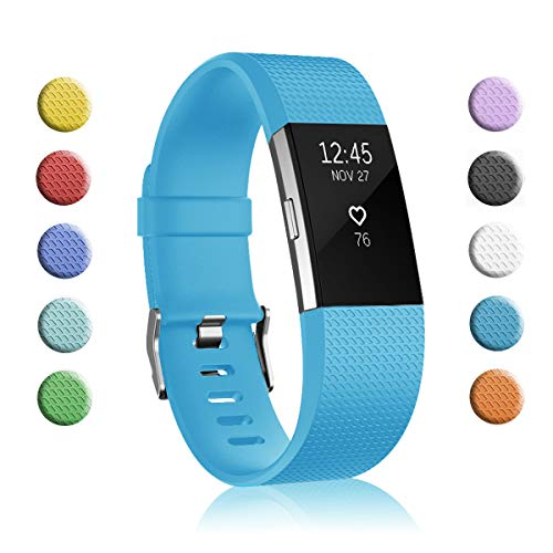 Fundro Replacement Bands Compatible with Fitbit Charge 2, Classic & Special Edition Adjustable Sport Wristbands (1-Pack Ocean Blue, Large (6.7-8.1))