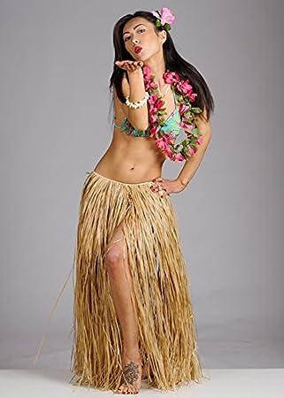 Delights Falda Hawaiana de Paja Larga de Hula para Mujer: Amazon ...