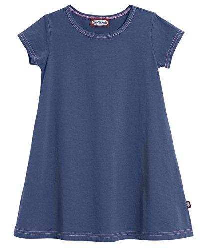 City Threads Little Girls' Cotton Short Sleeve Cover Up Dress for Sensitive Skin SPD Sensory Friendly, Midnight, 6