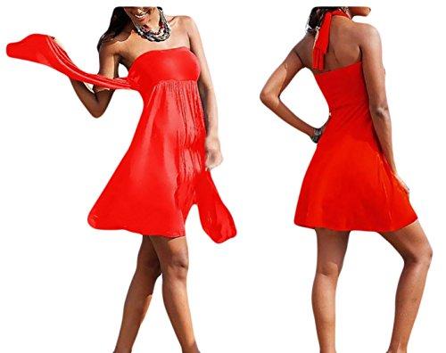 Jaycargogo Sans Bretelles D'été Mini-bohème Des Femmes Couvrent Rouge Robe De Plage