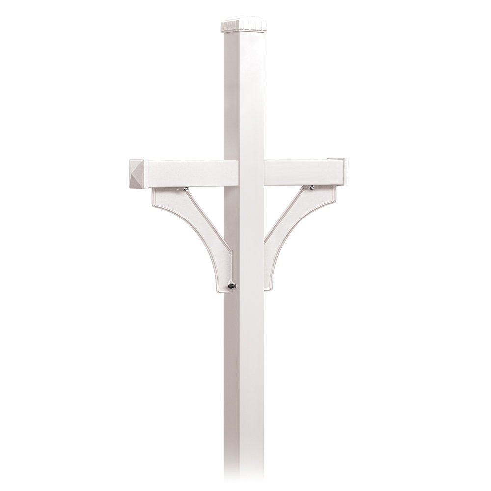 Salsbury Industries 4872WHT Deluxe Mailbox Post 2 Sided for Mailboxes, In-Ground Mounted, White