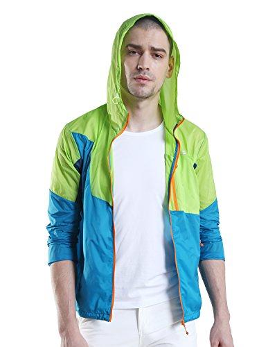 Makino Men's Windproof Jacket Lightweight Windbreaker Outdoor Coat by (Deep Blue/Seagreen, XXL)
