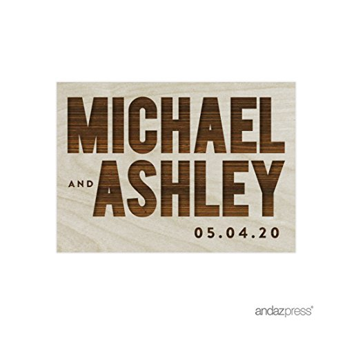 Andaz Press Personalized Laser Engraved Wood Magnet with Gift Bag, Bride and Groom Bold Names with Date, 1-Pack, Wedding Bridal Shower Engagement Save the Date For Kitchen Office Fridge -