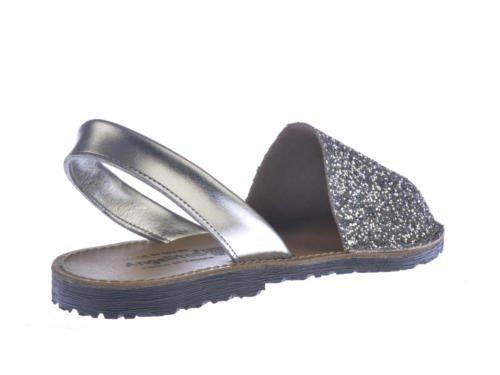 Sandalias Menorquinas en Glitter, Todo Piel mod.204. Calzado Made in Spain, Garantia de calidad. plateado