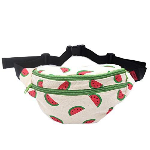 Fanny Pack Watermelon Hip Bag Waist Bag Canvas Bum Belt Hip Pouch Bags Purses Festival (Watermelon)
