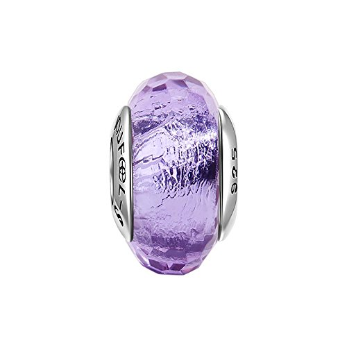 Soufeel Purple Ice Crystal Murano Glass Bead 925 Sterling Silver