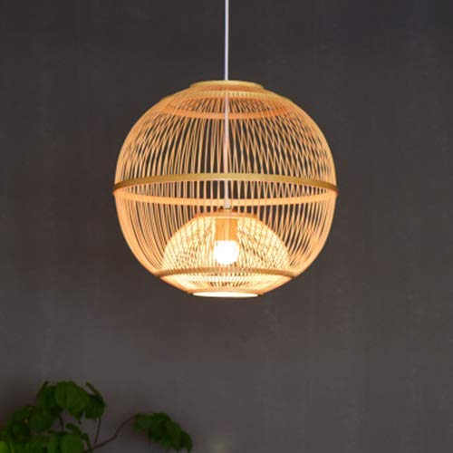 Arturesthome Traditional Japanese Bamboo Pendant, Artistic Handcraft Lamp, Mid-century Light Fixture