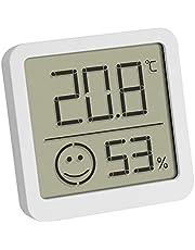 TFA Dostmann Digitale Mini Thermo-Hygrometer, 30.5053.02, met behaaglijkheidsgraad voor een gezond binnenklimaat, Weergave van binnentemperatuur en -vochtigheid, wit, (L)46 x (B)13 x (H)43 mm
