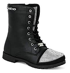 Lace Up Combat Boots With Rhinestones