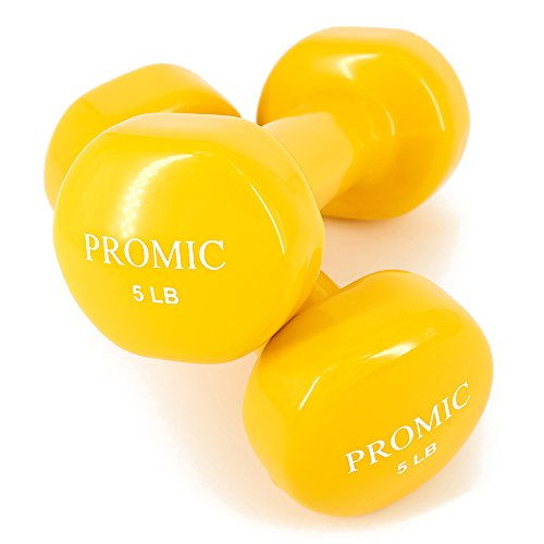 PROMIC 1lb to 20lb Hand Weights Deluxe Solid Vinyl Dumbbells with Non Slip Grip for Hand Exercise