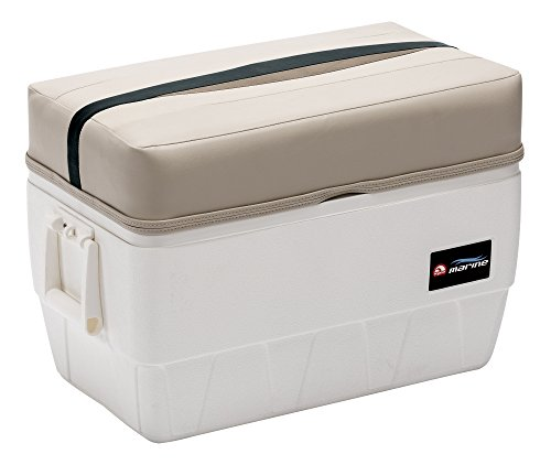 Wise Premier Series 48-Quart Igloo Cooler with Cushion Seat, Platinum/Platinum Punch/Jade/Fawn (Boat Cooler Seat)