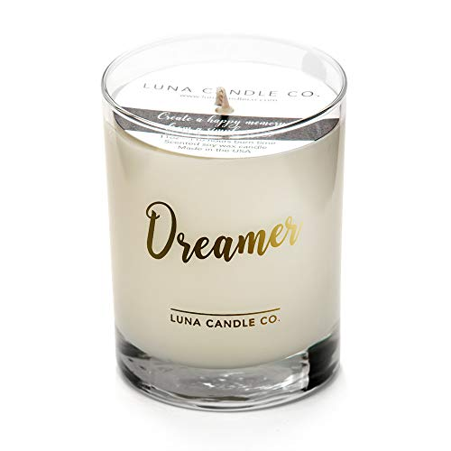 Luna Candle Co. Highly Scented Lavender Jar Candle with Hints of Geranium, Luxurious Soy Wax 11oz. Glass, Long Burning Up to 110 Hours of Burn Time, Low Smoke, Aromatherapy, Spa- Dreamer ()