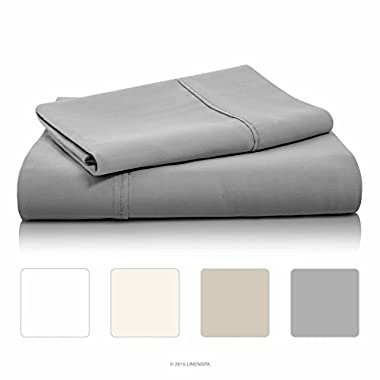 LINENSPA 800 Thread Count Cotton Blend Wrinkle Resistant Sheet Set - Stone - Queen Size