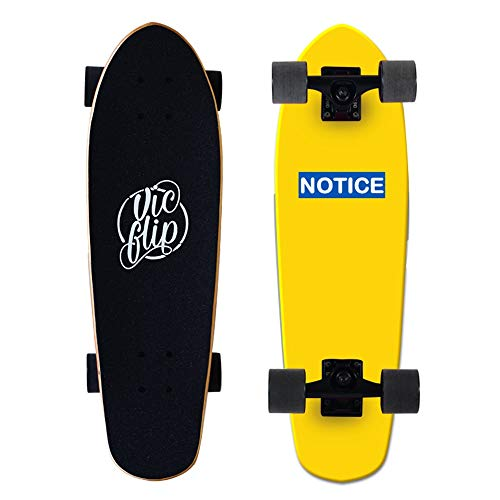LJHBC Skateboard Deck 27 Inches Longboard Double Kick Skateboard Road Surfboard Color Logo and Natural Wood Suitable for Extreme Sports (Color : Yellow)