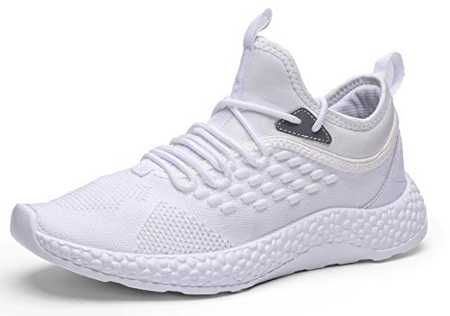 Ezkrwxn men slip on athletic walking shoes flyknit mesh breathable comfort sport trail running sneakers youth boys tennis shoes man gym workout jogging runner trainer shoe white size 12 (1918-white-46) ()