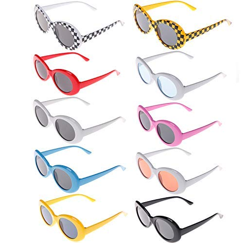 Xgood 10 Pack Clout Oval Goggles Retro Thick Frame Round Sunglasses Oval Round Glasses Mod Sunglasses for Women,Men,Teenagers,Girls,Boys,10 Colors -