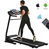 Miageek Fitness Folding Electric Jogging Treadmill with Smartphone APP Control, Walking Running Exercise Machine Incline Trainer Equipment Easy Assembly (2.25 HP - Black)