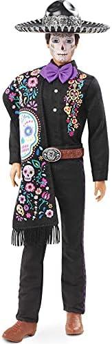 Barbie 2021 Dia De Muertos Ken Doll (12-in) Wearing Embroidered Shirt, Serape & Sombrero, with Calavera Fa