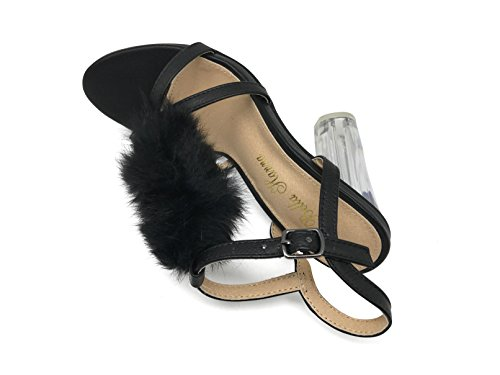 Nikita02 Womens Open Toe T Strap Feather Vamp Crystal High Heel Wedding Leather Sexy Sandal Wedge Shoes Black wfzN0lJSfJ