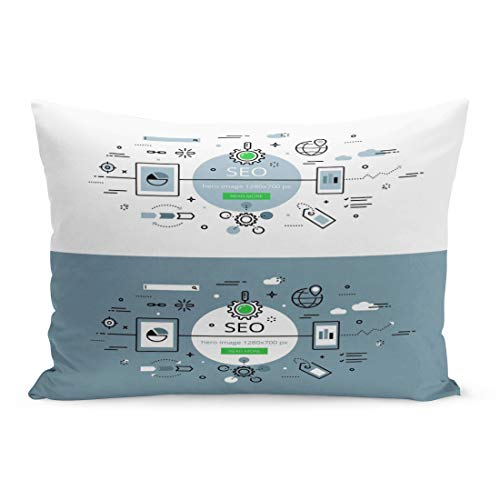 Emvency Throw Pillow Covers Search Engine Optimisation Line Flat Hero for Websites Pillow Case Cushion Cover Lumbar Pillowcase Decoration for Couch Sofa Bedding Car Home Decor 20 x 36 inchs