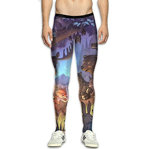 QWYHFHH Men's Forest Story Compression Pants Sport Tight Leggings