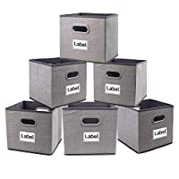 Homyfort Cube Storage Bins,Foldable Cloth Boxes Baskets Organizer for Closet,Home,Office, Bedroom with Plastic Handles Set of 6 Grey Large 12x12x12