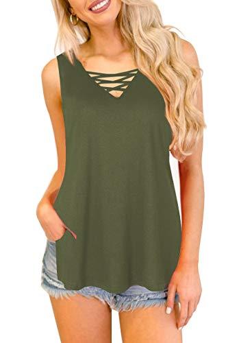 YIBOCK Women's Summer Camo Criss Cross V Neck Sleeveless Cami Tank Tops Blouse (Army Green Solid, XL)