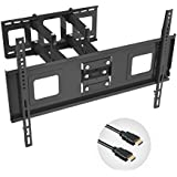 Fleximounts TV Wall Mount Bracket for 32-70 inch TV, Full Motion Articulating Arms with Tilting Swivel, 18 Inches Arm, Max VESA 600x400mm and 132 lbs, with 10 ft HDMI Cable