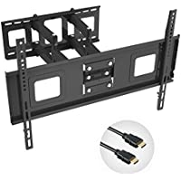 Fleximounts TV Wall Mount Bracket for Most 32-65 inch TV, Full Motion Articulating Arms with Tilting Swivel, up to VESA 600x400mm and 132 lbs(match some 70 TV), with 10 inch HDMI Cable