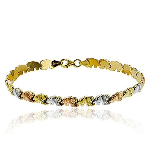 Elephant Tri Color Bracelet (14K Tri-Color Gold Polished & Textured Baby Elephant 7.25