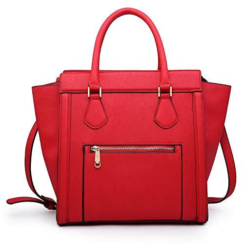 Dasein Women's Satchel Handbags and Top Handle Purses Shoulder Bags Vegan Leather Tote for Ladies Red (Cheap Replica Handbags)
