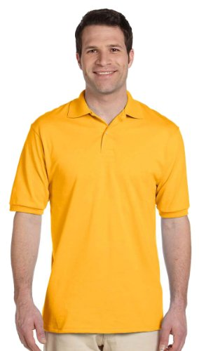Jerzees Men's Spot Shield Short Sleeve Polo Sport Shirt, Gold, X-Large